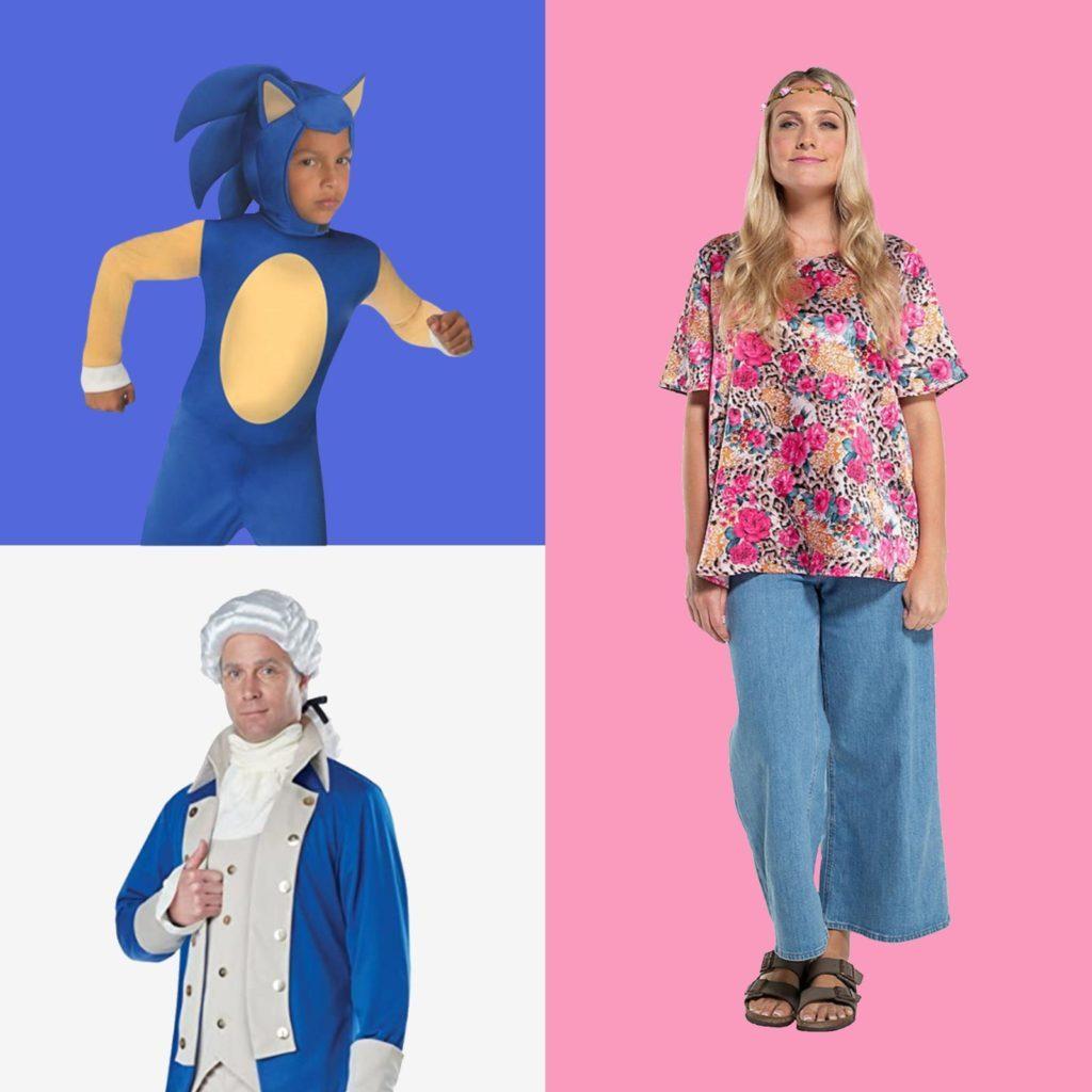 Grid of Halloween costumes: Alexander Hamilton, Sonic, and Carole Baskin