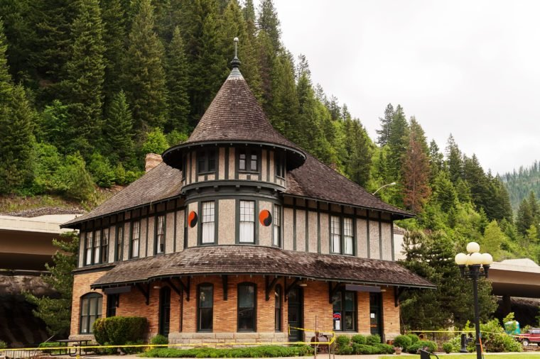 Historic depot built in 1902 in Wallace, ID, now houses a railroad museum