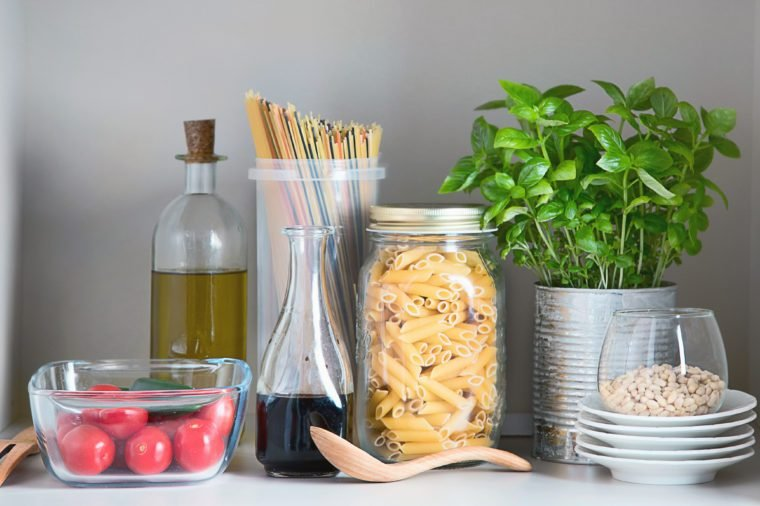 Kitchen pantry with italian food products. Healthy food concept.