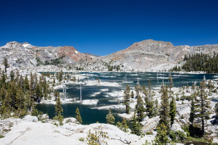 Lake Aloha is a shallow backcountry glacial basin in the Sierra Nevada mountains of California. The lake is within the federally protected Desolation Wilderness and is on the Pacific Crest Trail.