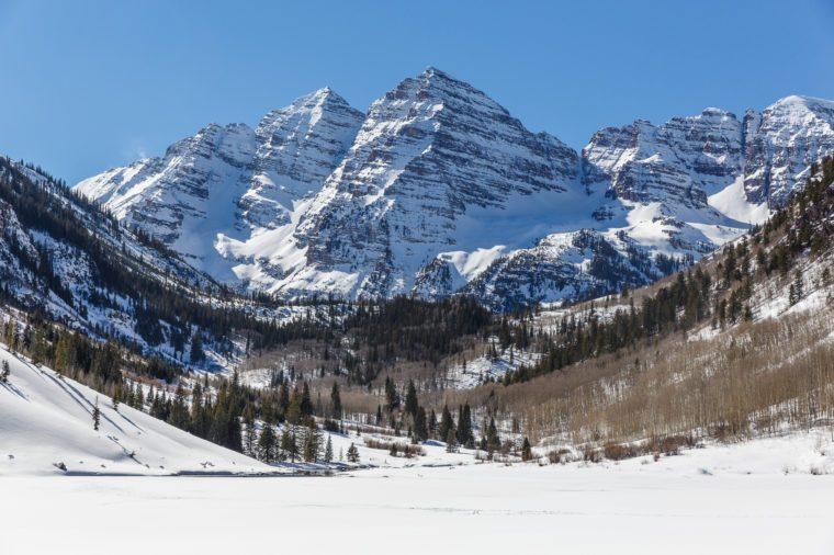 Maroon Bells in Winter, Aspen Colorado on a Bluebird Sky Day