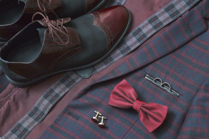 Men suit, accessories, vintage leather shoes, bow tie and wedding rings