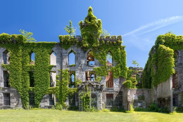 Old ruins of an abandoned small pox hospital on Roosevelt Island in New York City
