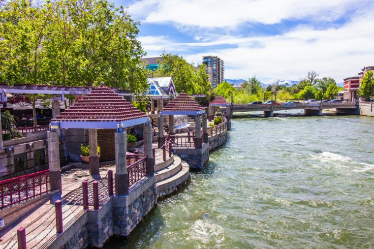 River Walk Pailions On Truckee River In Reno
