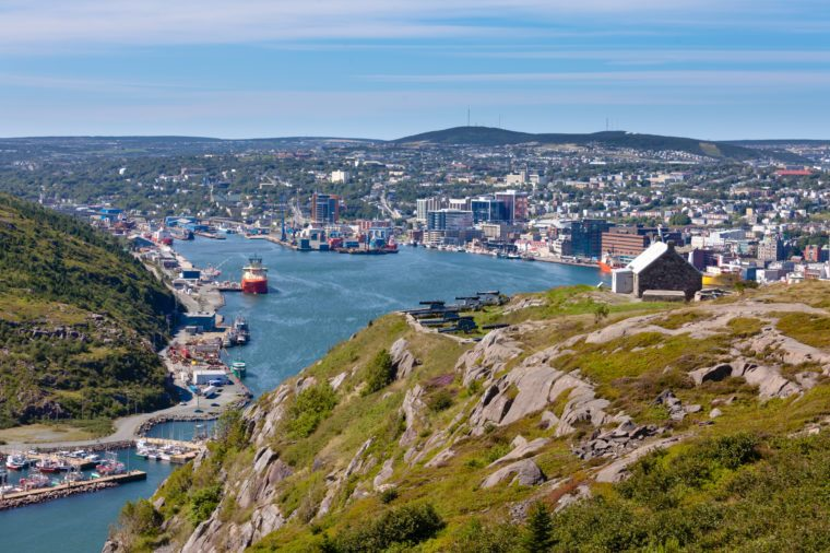 St. John's, capital of Newfoundland Labrador, NL, Canada, harbor and downtown seen from signal hill
