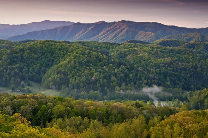 Sunrise in the Smoky Mountains viewed from an overlook along Foothills Parkway just outside Townsend, Tennessee.