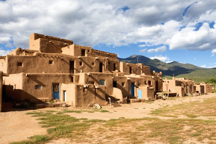 Thousand year old pueblo in Taos, New Mexico is the oldest continuously occupied adobe building in the United States.