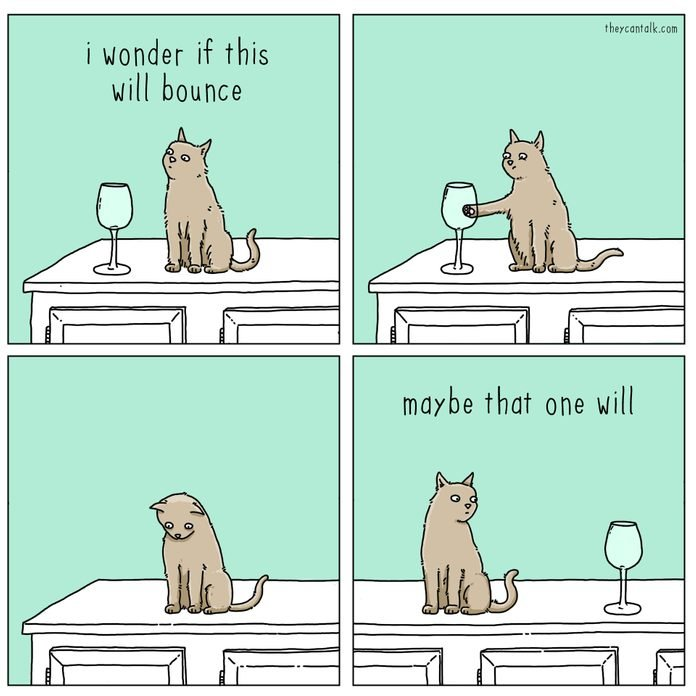 cartoon about cat pushing wine glasses off the counter