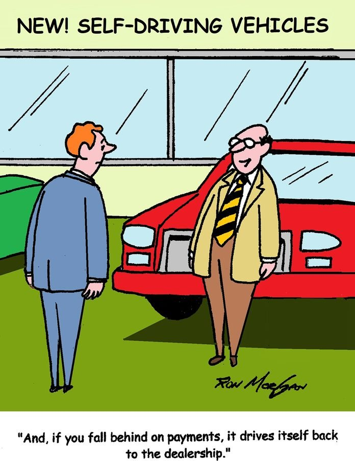 cartoon about a self driving cars; the car drives itself back to the dealership if you fall behind on payments