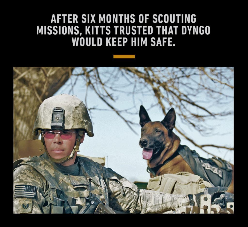 Air Force staff sergeant Justin Kitts and his faithful canine companion on duty in Afghanistan