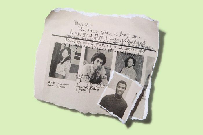 """""""You have come a long way,"""" Fred Goldberg (center) wrote to Maxie Jones (inset) in his 1980 high school yearbook."""