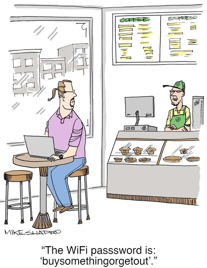 "cartoon about the wifi password in restaurant being ""buysomethingorgetout"""