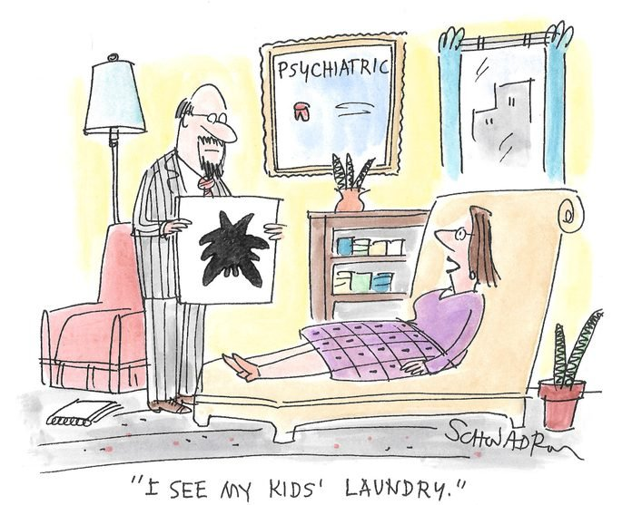 "woman in a therapists office looking at an inkblot says, ""i see my kids laundry"""