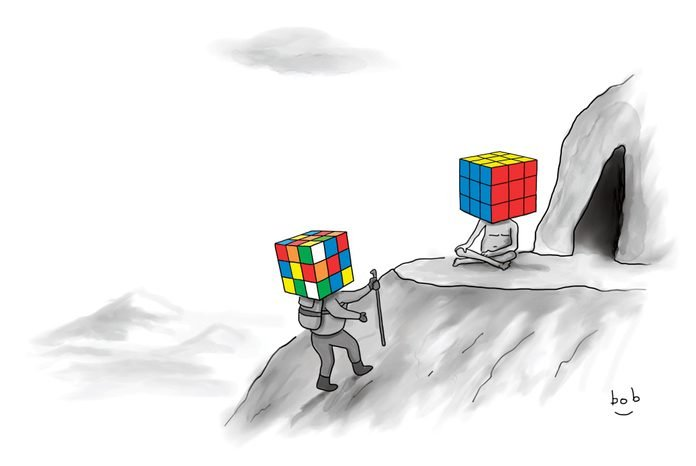 a man with a mixed up rubiks cube as a head, hikes to the top of a mountain to find a figure seated with legs crossed with a solved rubiks cube as a head