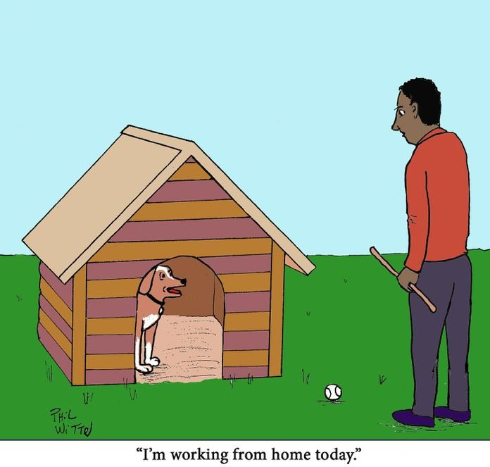 "a dog in a doghouse tells his owner, whos holding a stick, ""im working from home today"""