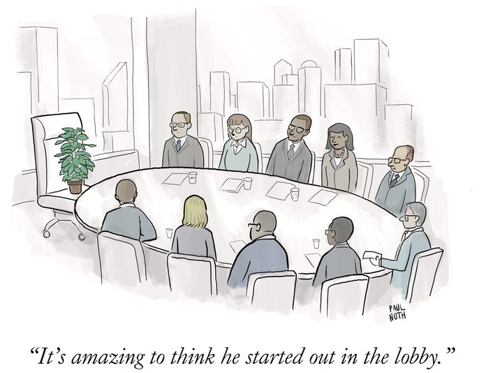 "a plant sits at the head of a boardroom table and one person says, ""its amazing to think he started out in the lobby."""