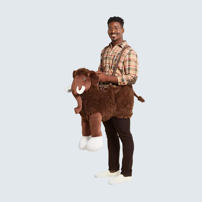 Man in wooly mammoth costume