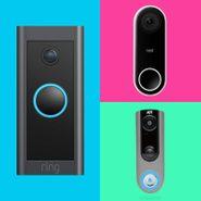 Grid of three different smart doorbells