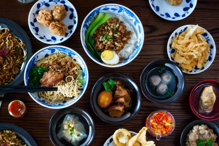 Chinese Hakka Cuisine Spread Flatlay