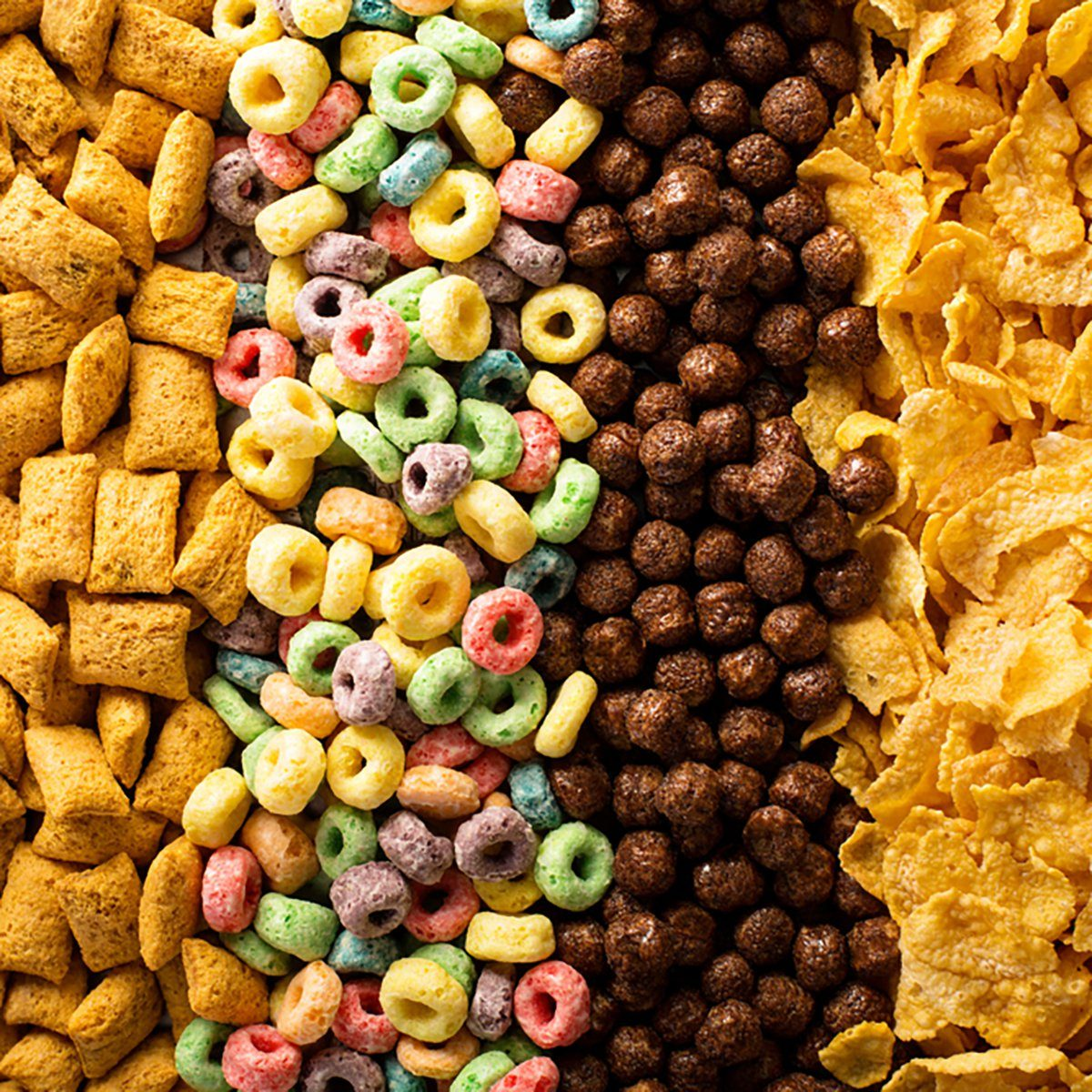 Variety of cold cereals, quick breakfast for kids