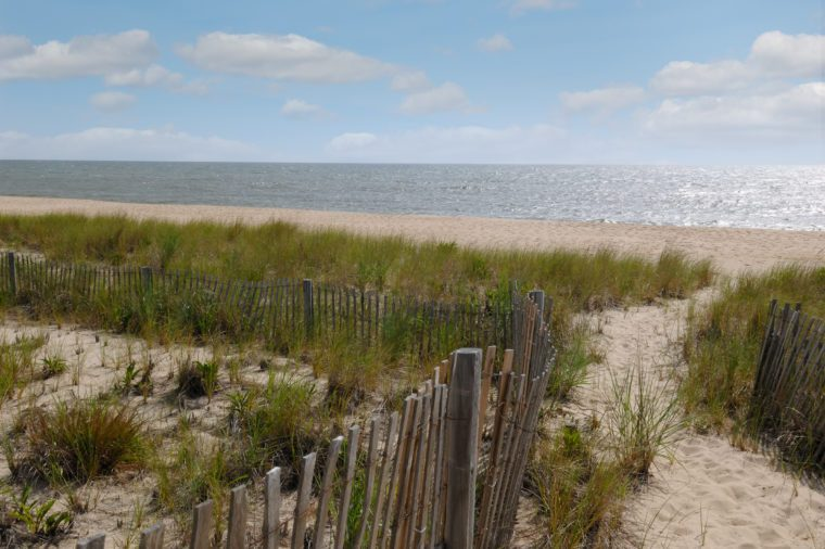 Over the sand dune and to the beach.