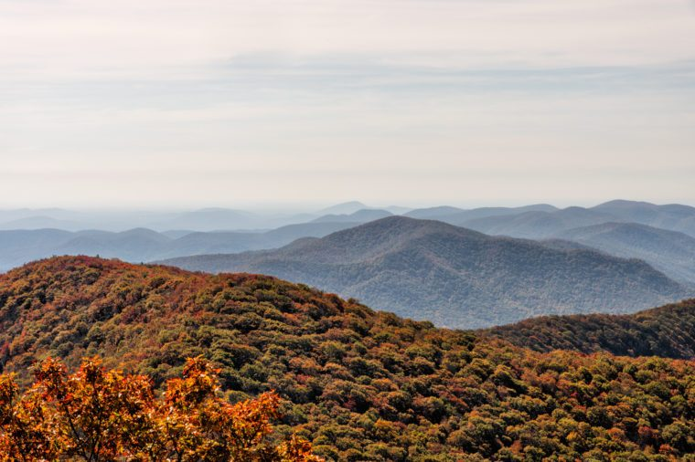 Autumn landscape view from the top of Brasstown Bald Mountain in north Georgia USA which is part of the Appalachian Mountains in the Blue Ridge Mountain range of the Chattahoochee National Forest.