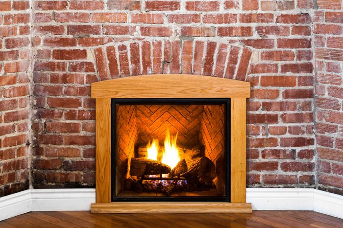 Fireplace and Flat Brick Wall Perspective Perfect for Painting or Picture Frame Addition