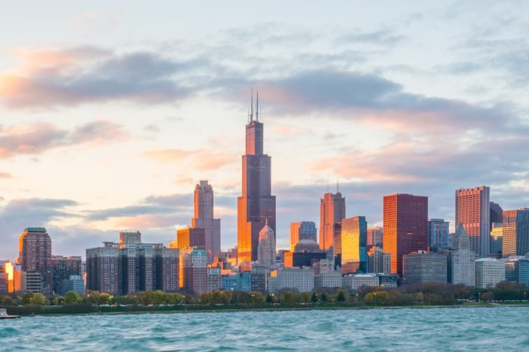 Downtown chicago skyline at sunset Illinois, USA