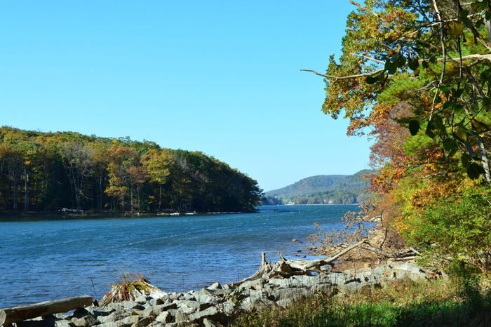deep creek Maryland lake on a bright fall day