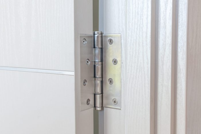 door hinges Aluminum on white door