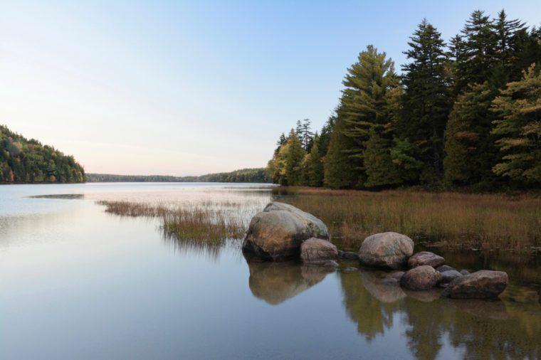 early morning, reflections, Echo Lake, Acadia National Park, Maine, USA