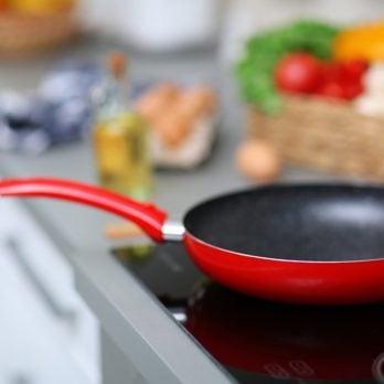 Empty frying pan on stove