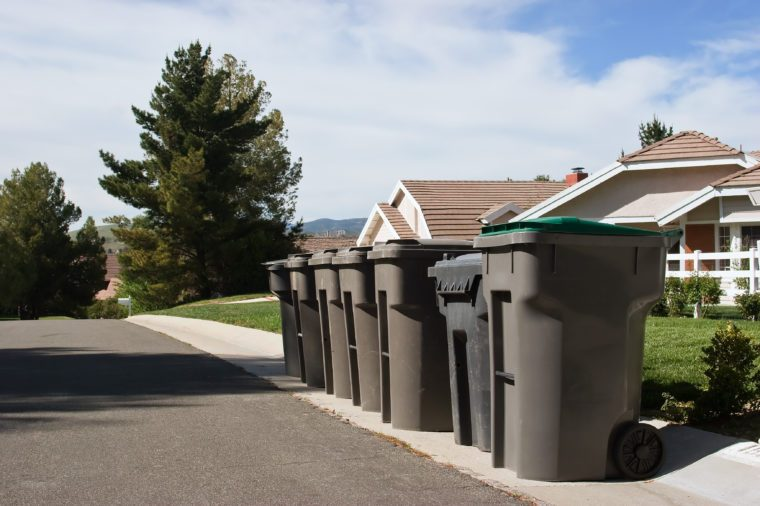 Garbage bins line up on a residential street.