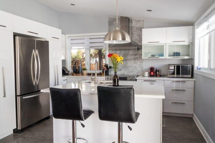 elegant new modern home kitchen with island
