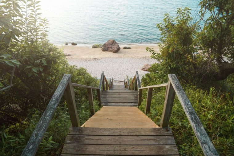Stairs lead to a beautiful beach on the North Fork of Long Island