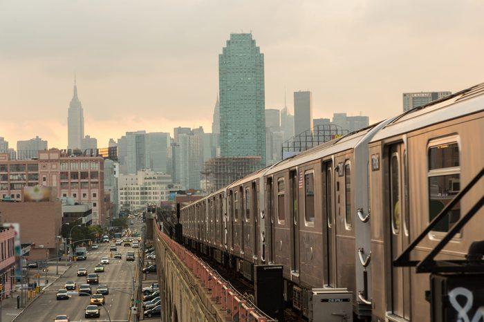 Subway Train in New York before Sunset