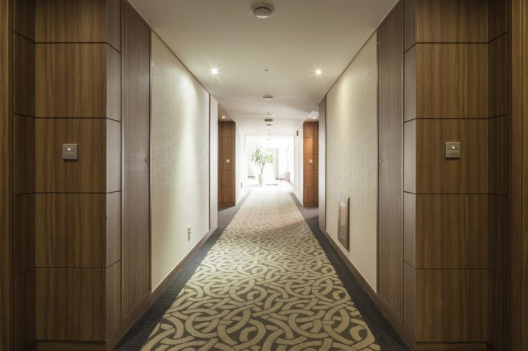 passage(way, path, passageway, hallway, aisle) in hotel room at the day in seoul, korea.