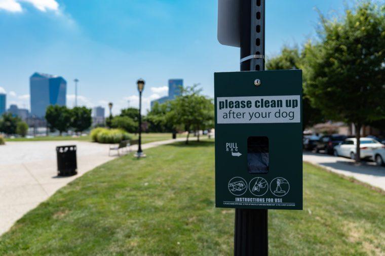 Dog Poop Clean Up Bag Dispenser in Philadelphia Park