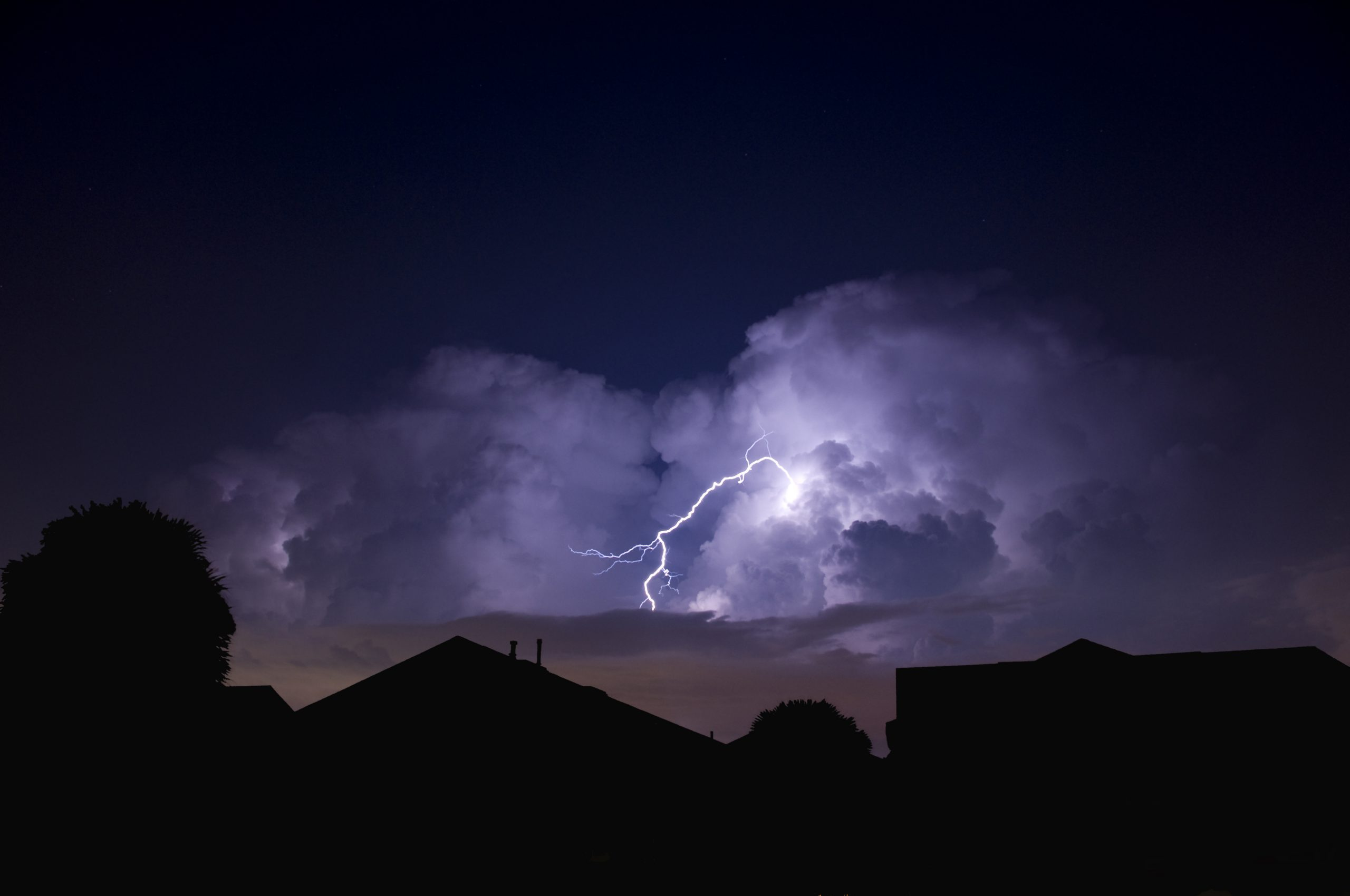 Lightning strike in a local neighborhood during a power outage