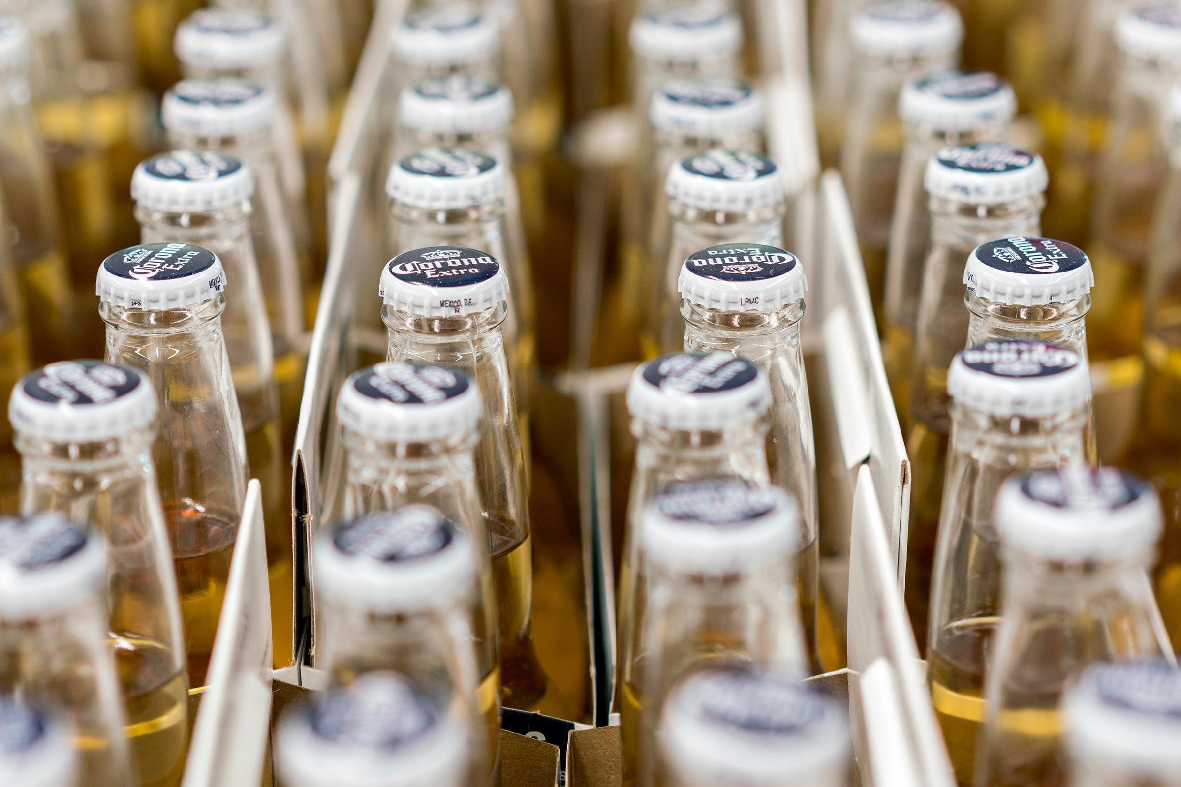 "Kiev, Ukraine. February 1 2018. A lot of bottles of beer ""Corona"". selected focus"