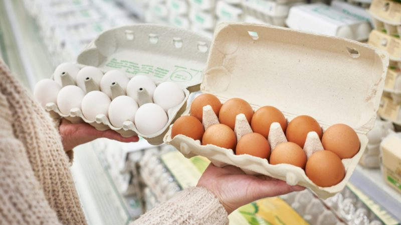 Woman with cardboard packages of white and brown eggs in the store