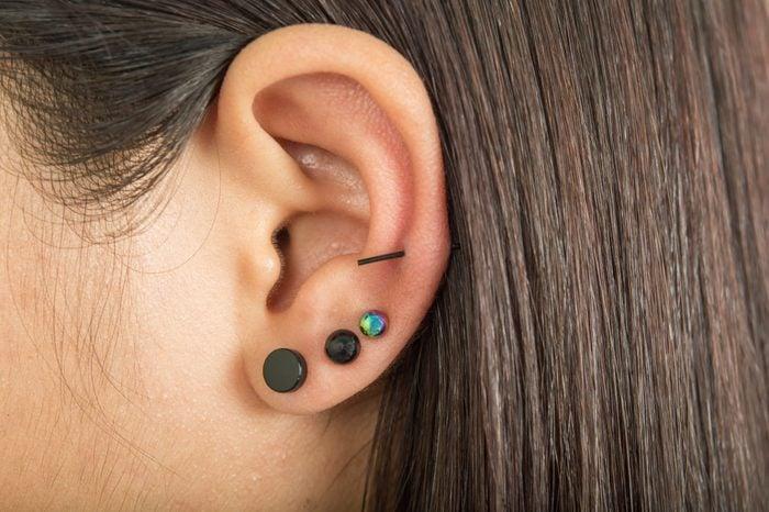 Ear and earrings ear piercing