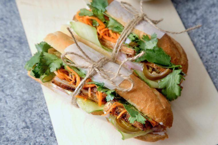 banh-mi sandwich with sliced grilled pork tenderloin