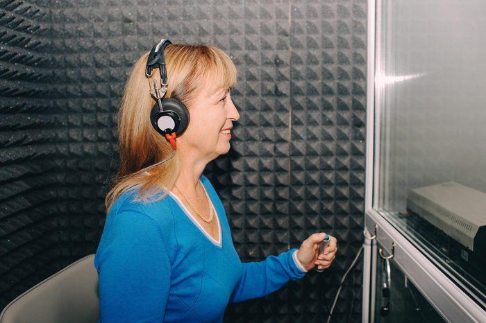 woman hearing test