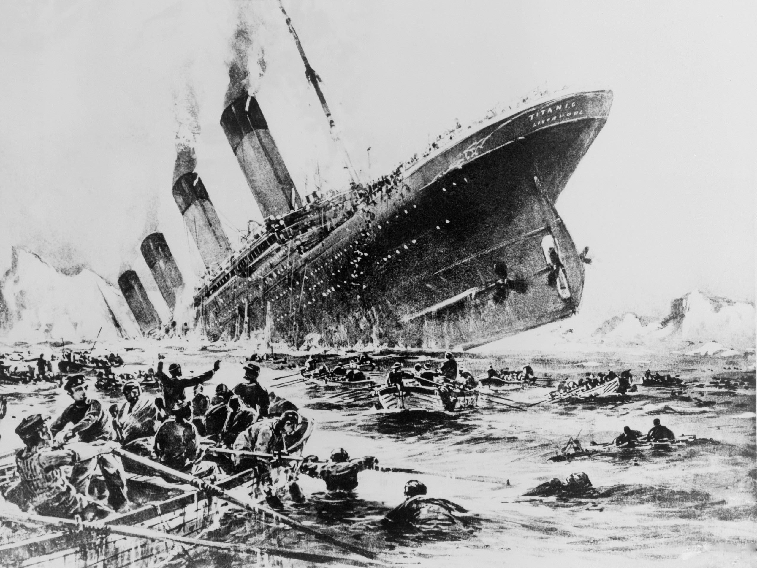 Image result for Photos of the Titanic about to hit the iceberg
