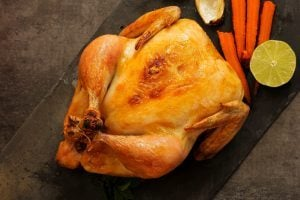 Roasted whole chicken overhead view