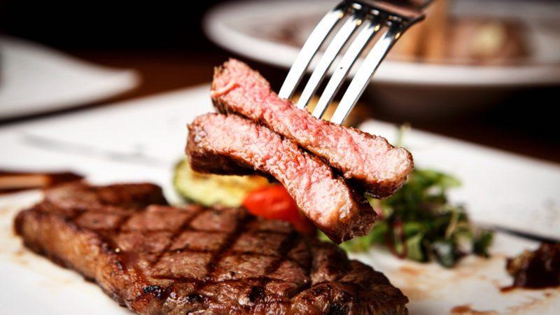 Sirloin steak on plate