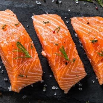 Fresh fish. Salmon fillet on black.