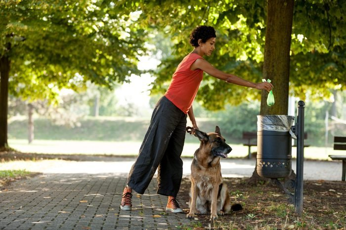Woman is throwing away the poo of her dog