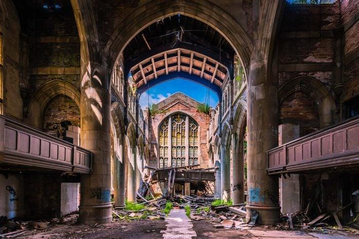 Abandoned City Methodist Church in Gary, Indiana.